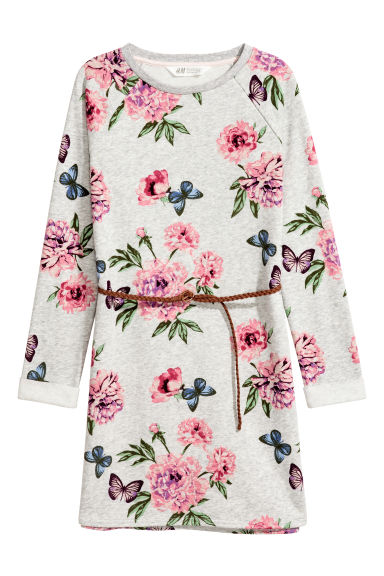 Sweatshirt dress with a belt - Grey/Floral - Kids | H&M CN 1